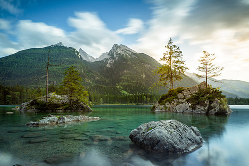 Hintersee with a view of the Hochkalter, Ramsau, Berchtesgaden National Park, Berchtesgadener Land, Upper Bavaria, Bavaria, Germany, Europe