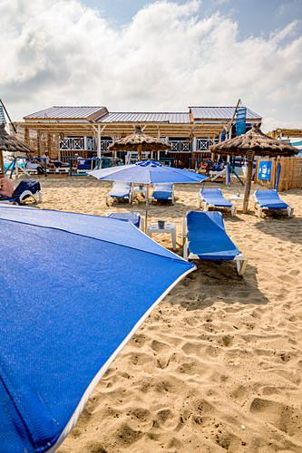 Strandrestaurant Les Pilotis, Leucate Plage, Okzitanien, Frankreich