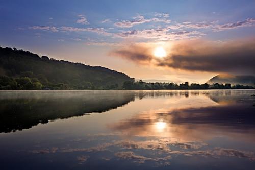Morgenstimmung an der Donau bei Donaustauf, Donau, Bayern, Deutschland