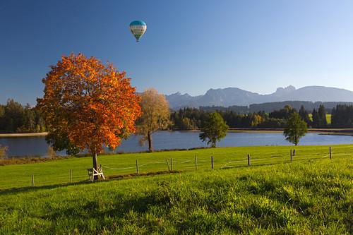 Ballon über dem Schwaltenweiher bei Seeg, Blick auf die Kette der Allgäuer Alpen, Allgäu, Bayern, Deutschland