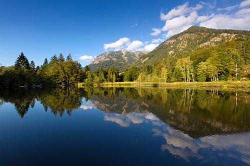 Moorweiher bei Oberstdorf, Allgäu, Bayern, Deutschland