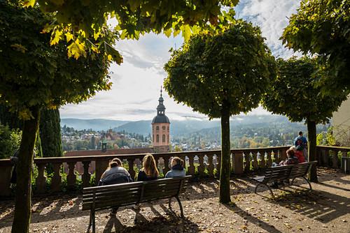 Panorama mit Stiftskirche, Baden-Baden, Schwarzwald, Baden-Württemberg, Deutschland