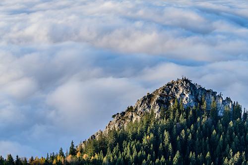 Felsgipfel mit Kreuz überragt Nebelmeer, Heuberg, Chiemgauer Alpen, Chiemgau, Oberbayern, Bayern, Deutschland