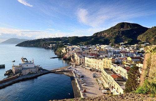 View from the castle to the old port, Lipari, Aeolian Islands, southern Italy