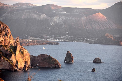 West coast of Lipari with Vulkano island, Aeolian Islands, southern Italy