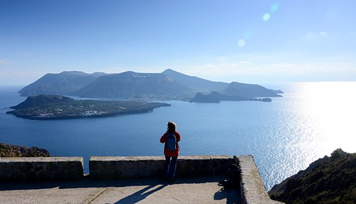 Southern part of Lipari island with a view of Vulkano and the sea, Aeolian Islands, southern Italy