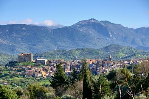 Mountain landscape with Castelbuono in the medony at Cefalu, north coast, Sicily, Italy