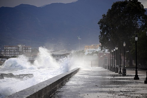 Storm, waves on the waterfront, Milazzo, north coast, Sicily, Italy