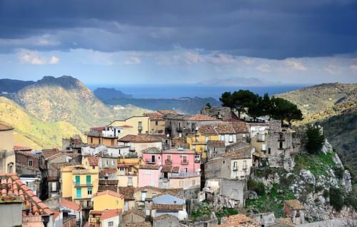 Landscape and small town, sea, colorful houses, Novara di Sicilia, Sicily, Italy