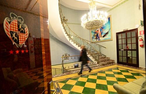 Stairwell, 4 star hotel, Park Hotel in Taormina, east coast, Sicily, Italy