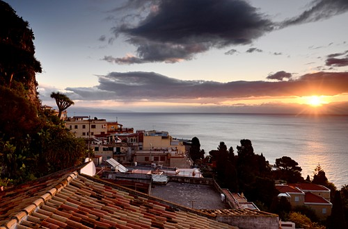 Sunrise, view from Taormina to the east with sea, east coast, Sicily, Italy