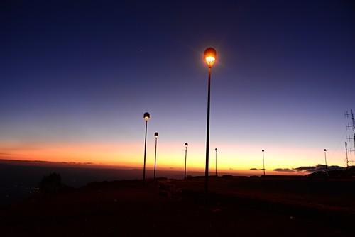 Lanterns, sky, light, sunset on Etna volcano, south side, east coast, Sicily, Italy