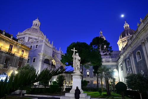 Evening at the Duomo, Catania, east coast, Sicily, Italy