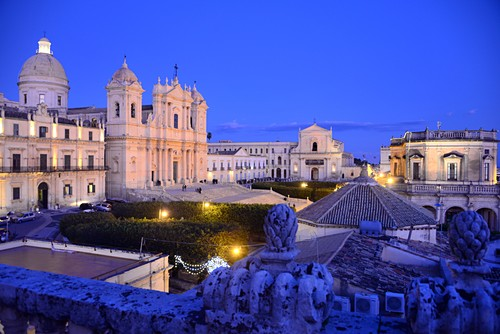 Evening view of Noto Cathedral, east coast, Sicily, Italy