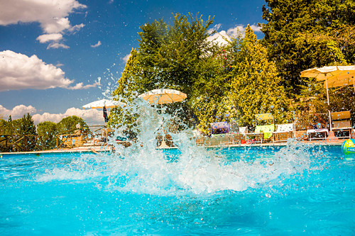 Water splashes in a pool, Tuscany, Italy