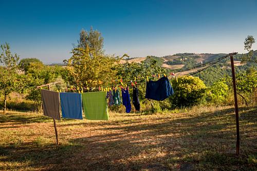 Laundry on a line, Buonconvento, Tuscany, Italy