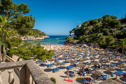Beach with hotel and bathing bay, Cala Santanyi, Mallorca, Spain