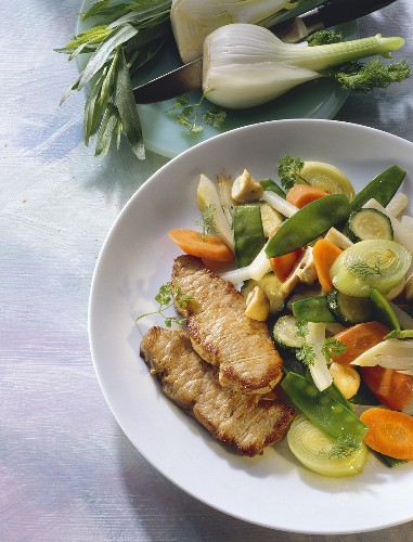 Pork steak with mixed vegetables