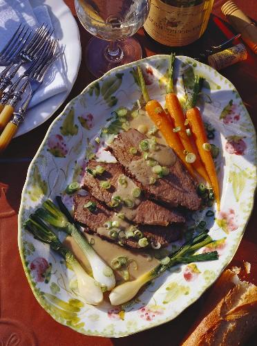 Sliced Braised Beef & Vegetables on a Serving Platter