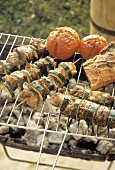 Grilled Lamb and Zucchini Skewers; Tomatoes