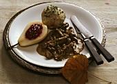 Venison Parts with Bread Dumplings & Pear