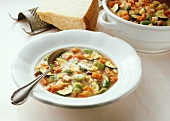 Minestrone (vegetable soup with noodles, Italy)