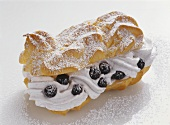 Eclair with Blueberry Cream
