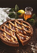 Linzer tart with apricot jam