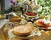 Cake buffet with summery fruit cakes