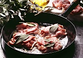 Saltimbocca (veal escalopes with ham and sage, Italy)
