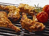 Gegrillte Hühnerkeulen mit Olivencreme