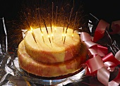Festive cake with sparklers