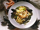 Fettuccine with seafood (Veneto, Italy)