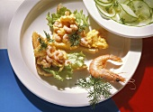 Scrambled Egg with Shrimp on Toast with Cucumber Salad