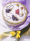 Decorated spring cake with flower design
