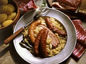 Sauerkraut with Garlic Sausages and Kirsch