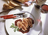 Sliced Duck Breast with Red Wine Sauce