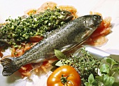 Fresh Herb Trout with Tomatoes in Foil