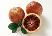 Blood orange with peel and cut open