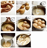 Making dumpling cakes with custard