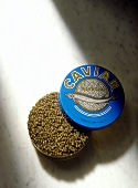 Opened Caviar Can on Marble