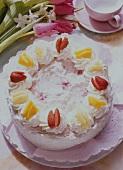 Pink rice gateau
