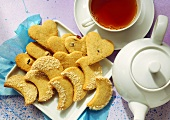 Almond Crescent and Raisin Heart Cookies with Tea