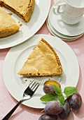 Plum pie with nut topping