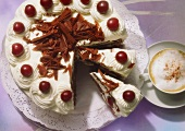 Black Forest style cherry gateau