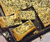Tray-baked spinach tart with quark