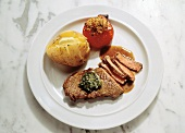 Loin Steak with Baked Potato; Grilled Tomato