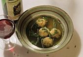 Canederli in brodo (bacon dumpling soup), S. Tyrol, Italy