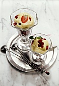 Zabaione (whipped wine cream with berries), Piedmont, Italy