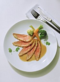 Duck breast with honey and coriander sauce